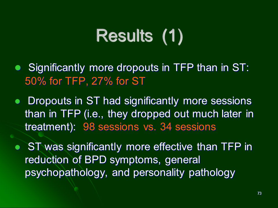 David M. Pittle, Ph.D. Results (1) Significantly more dropouts in TFP than in ST: 50% for TFP, 27% for ST.