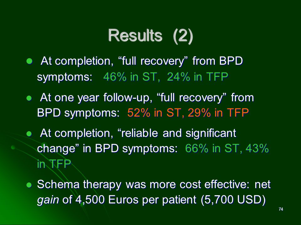 David M. Pittle, Ph.D. Results (2) At completion, full recovery from BPD symptoms: 46% in ST, 24% in TFP.
