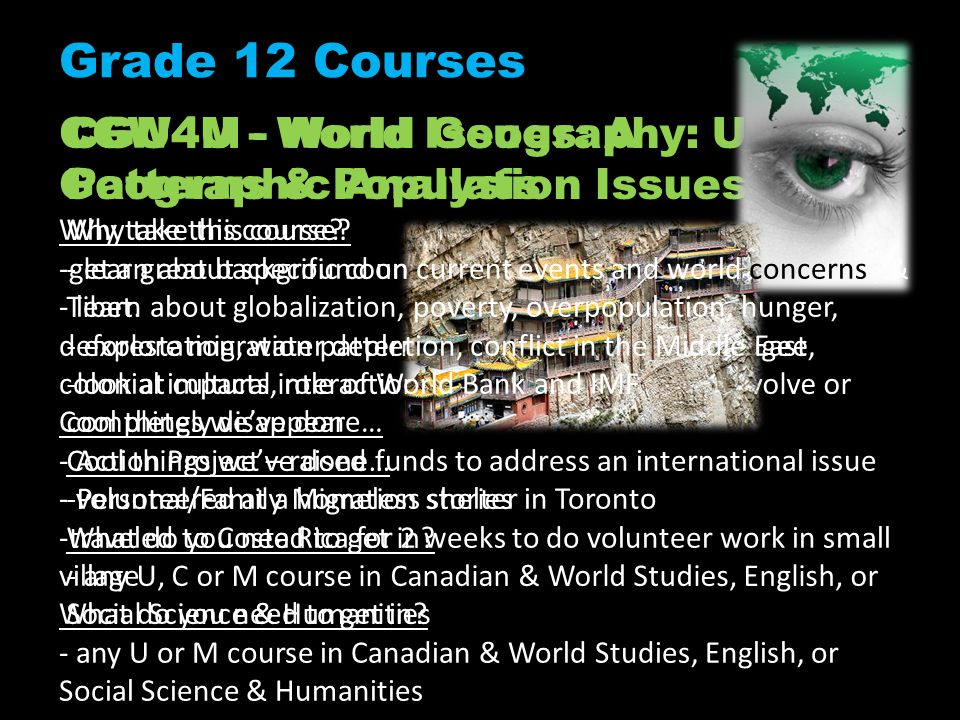 Grade 12 Courses CGW4U - World Issues: A Geographic Analysis