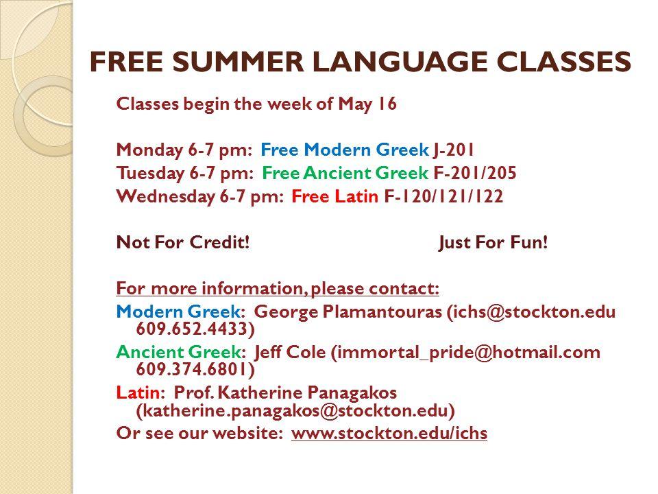 FREE SUMMER LANGUAGE CLASSES