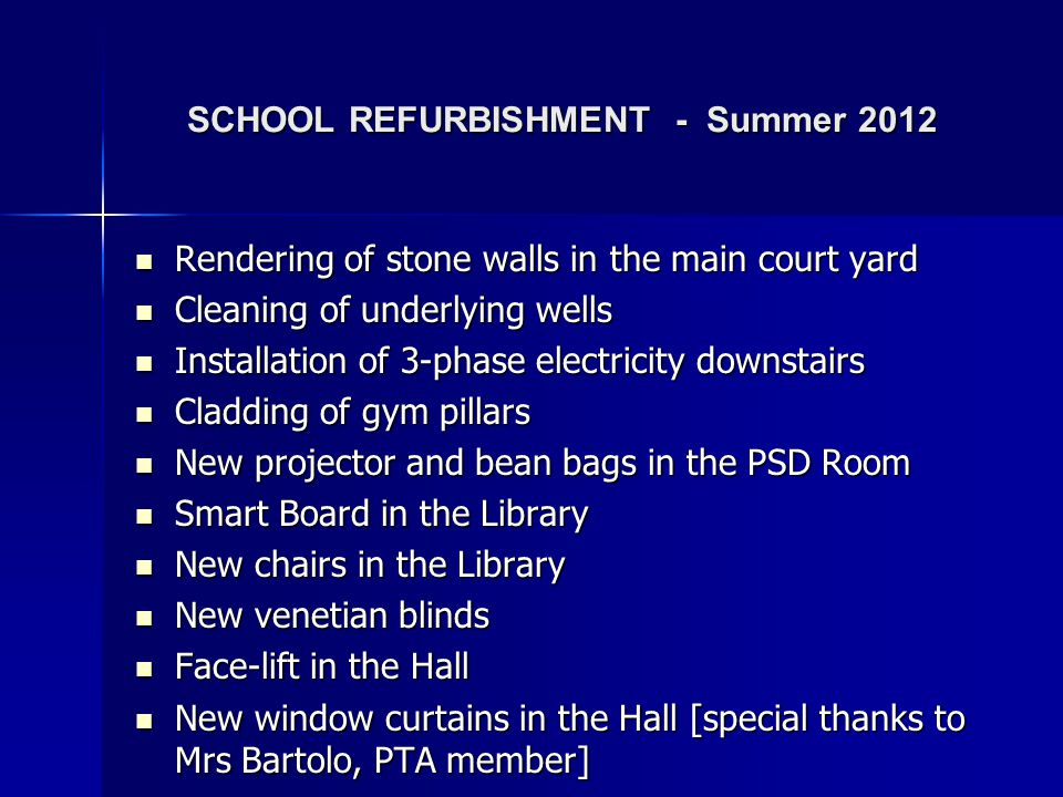SCHOOL REFURBISHMENT - Summer 2012
