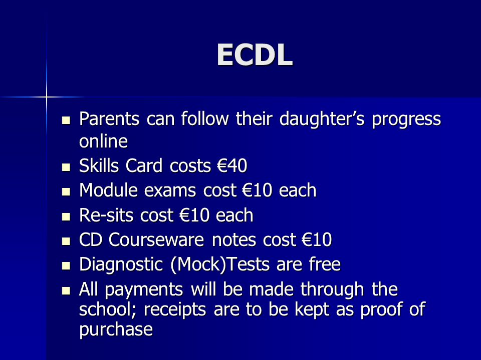ECDL Parents can follow their daughter's progress online