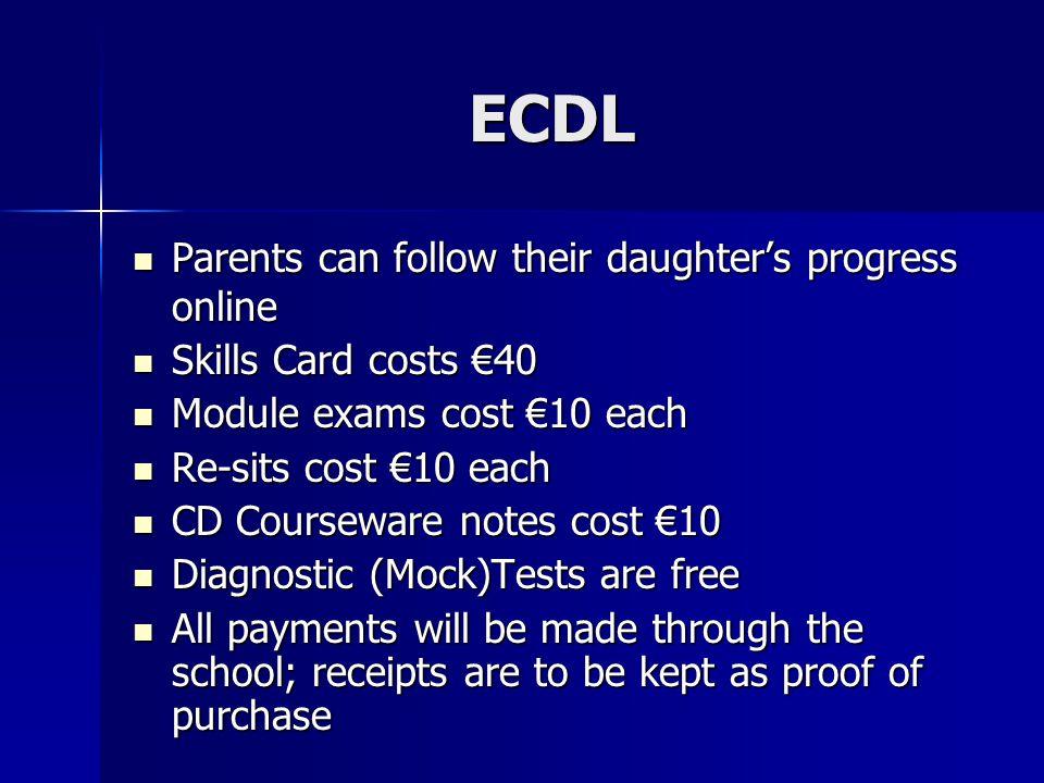 ECDL Parents can follow their daughter's progress online