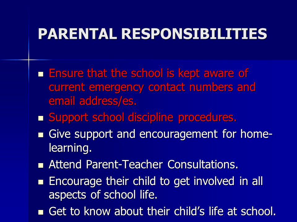 PARENTAL RESPONSIBILITIES