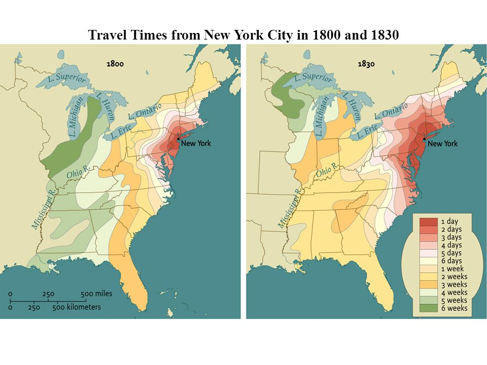 Travel Times from New York City in 1800 and 1830 • pg. 315