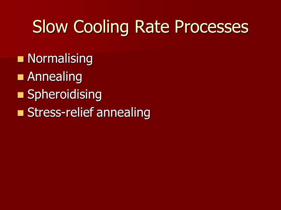 Slow Cooling Rate Processes