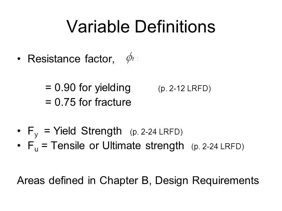 Variable Definitions Resistance factor,