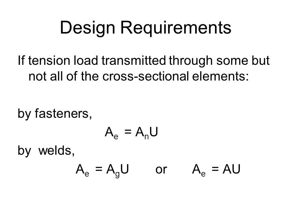 Design Requirements If tension load transmitted through some but not all of the cross-sectional elements: