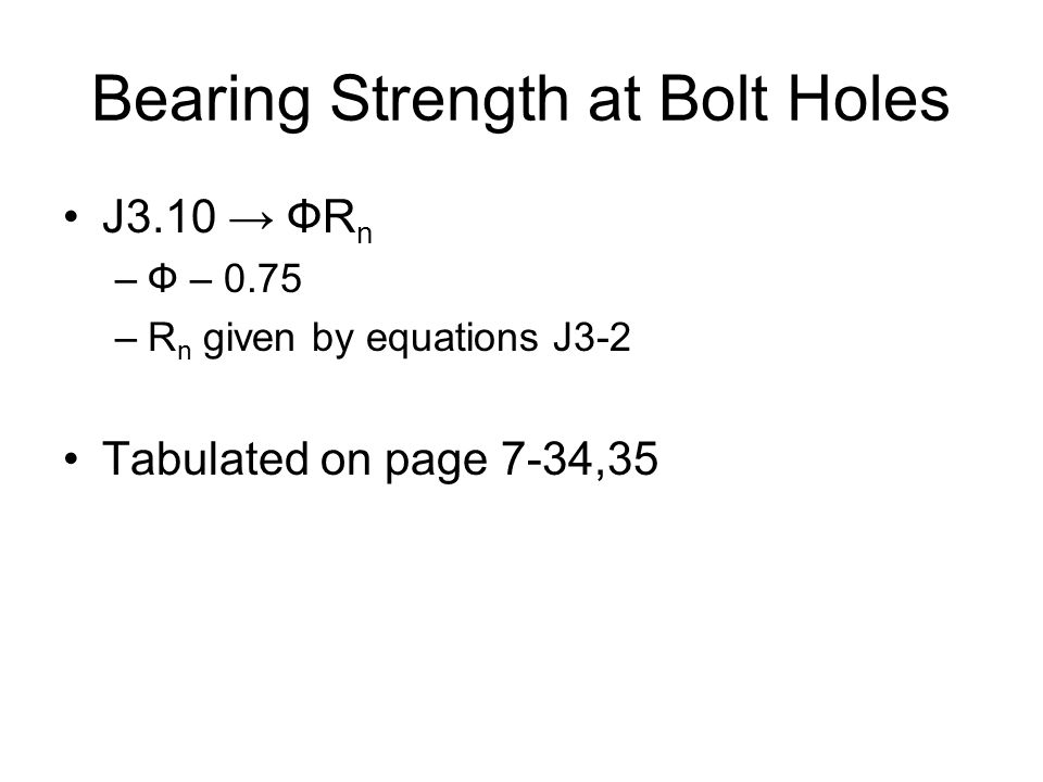 Bearing Strength at Bolt Holes