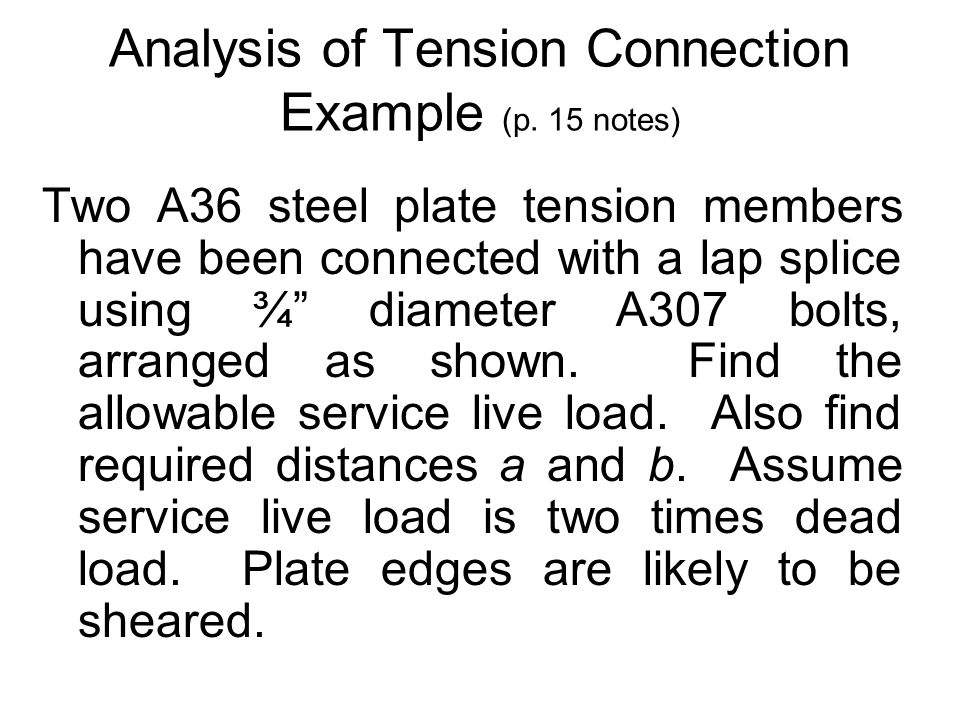 Analysis of Tension Connection Example (p. 15 notes)