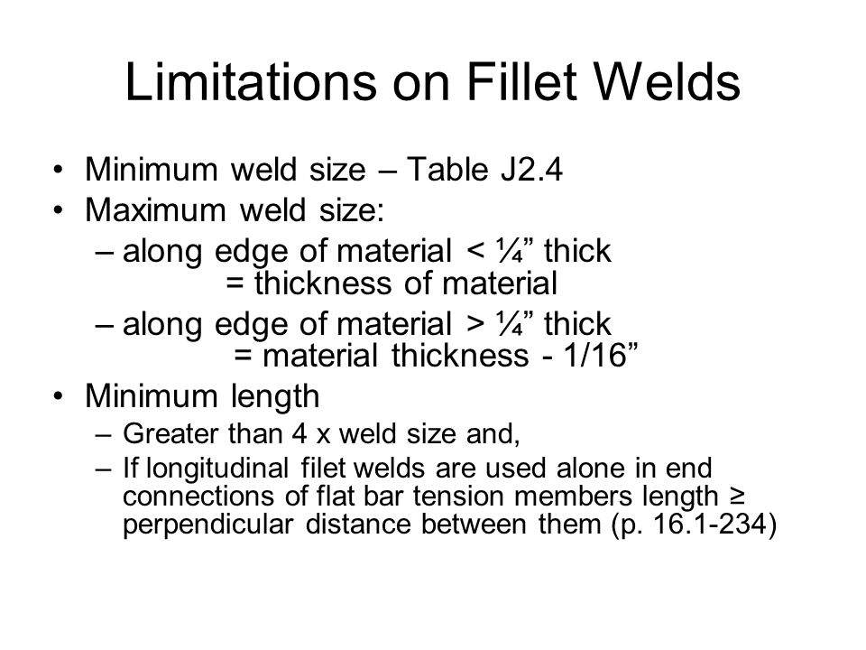 Limitations on Fillet Welds