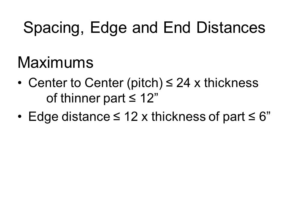 Spacing, Edge and End Distances