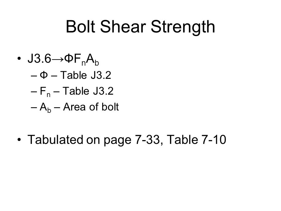 Bolt Shear Strength J3.6→ФFnAb Tabulated on page 7-33, Table 7-10