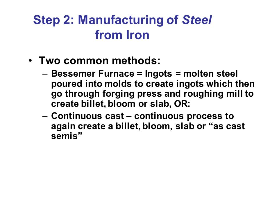 Step 2: Manufacturing of Steel from Iron