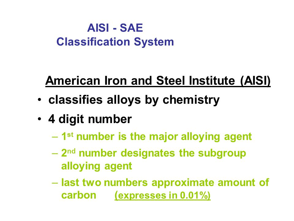 AISI - SAE Classification System