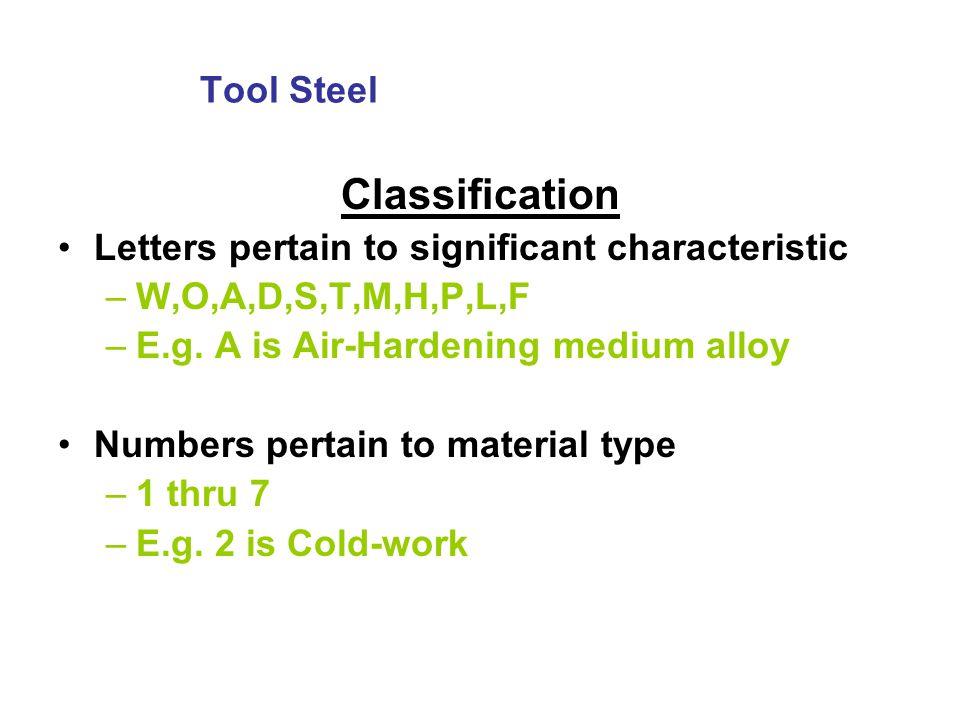 Classification Tool Steel
