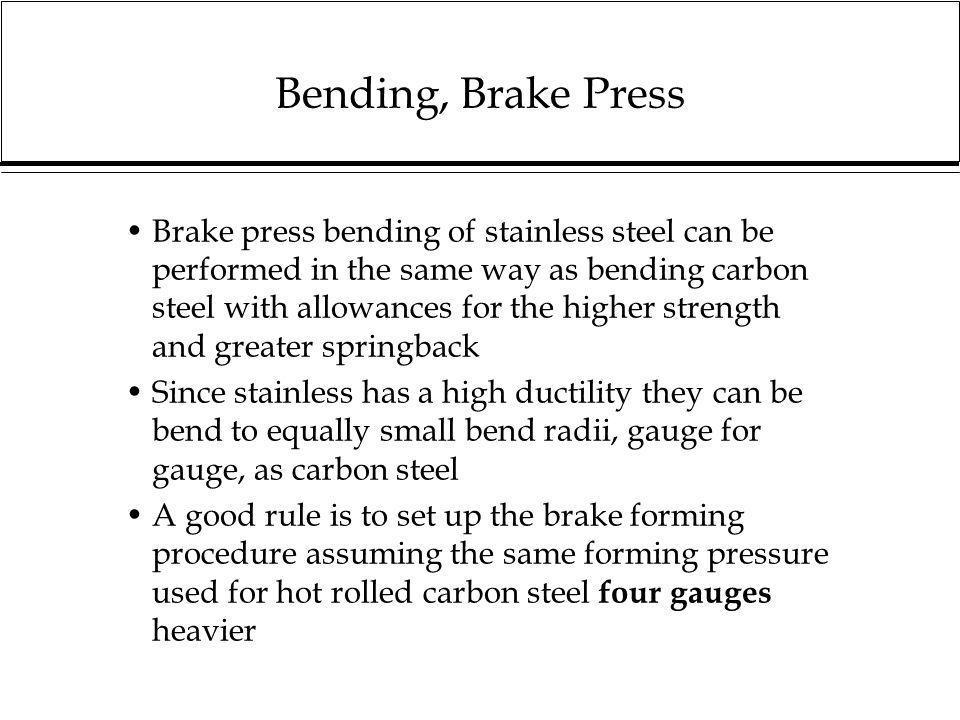 Bending, Brake Press