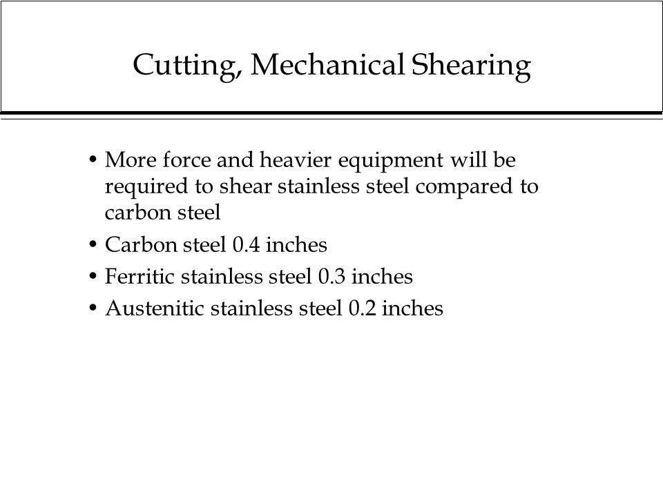 Cutting, Mechanical Shearing