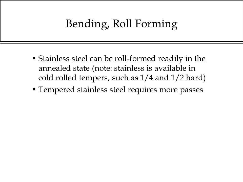Bending, Roll Forming