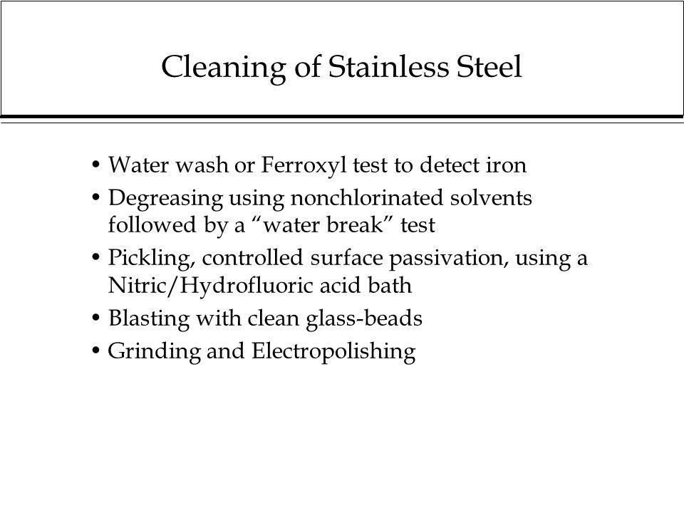 Cleaning of Stainless Steel