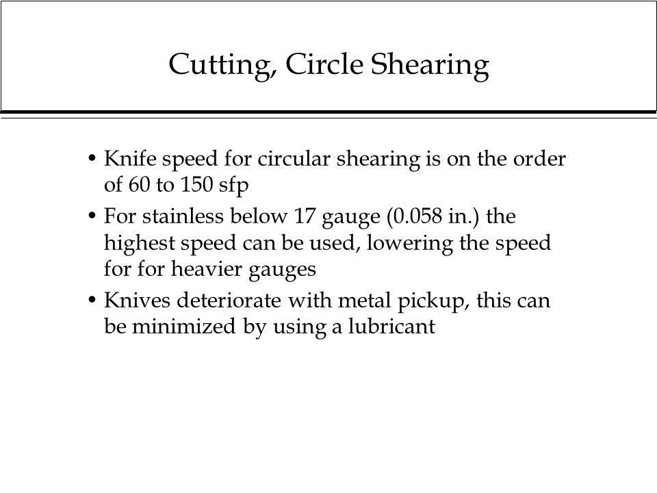 Cutting, Circle Shearing