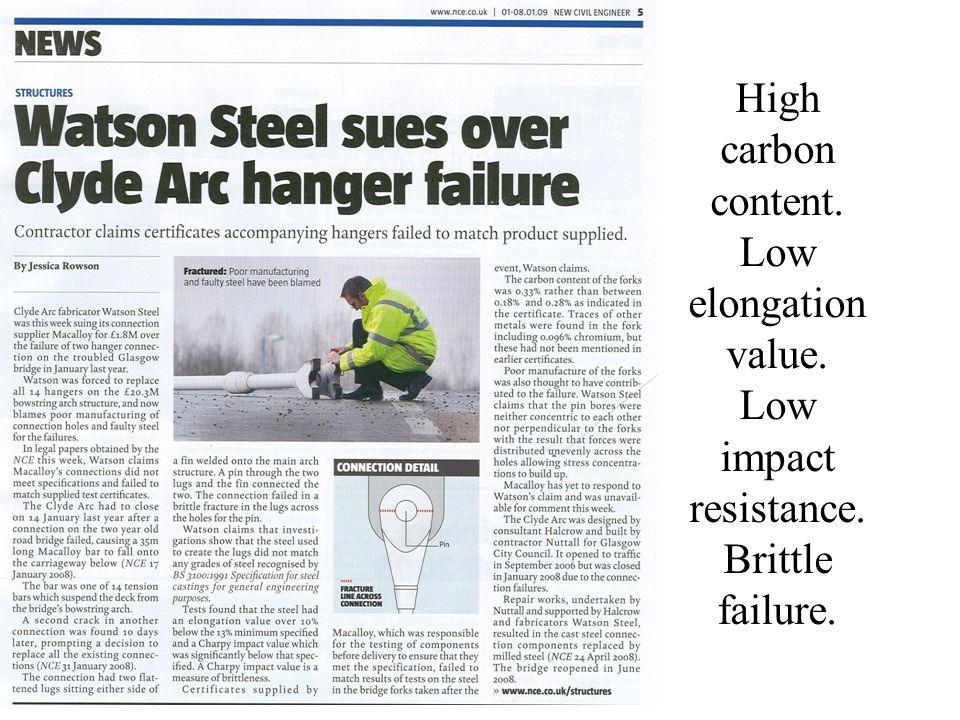 High carbon content. Low elongation value. Low impact resistance