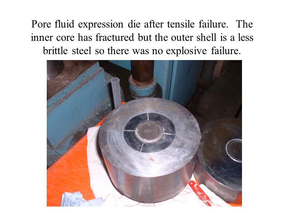 Pore fluid expression die after tensile failure