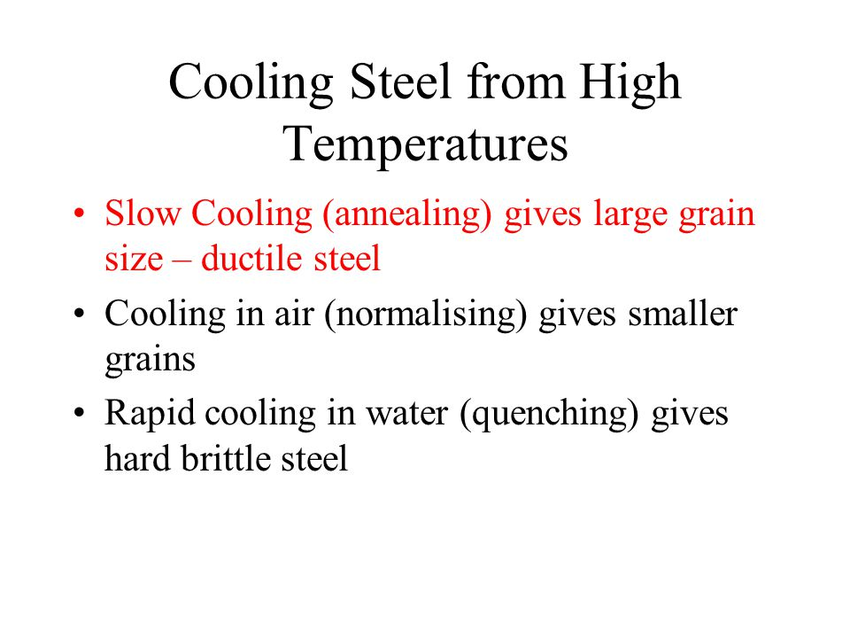 Cooling Steel from High Temperatures