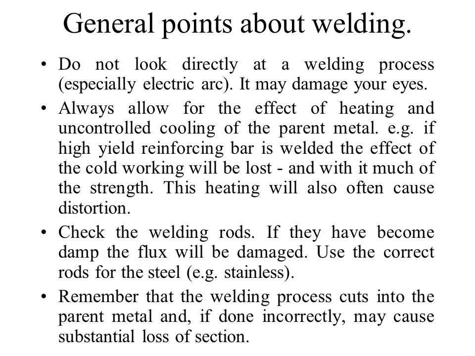 General points about welding.