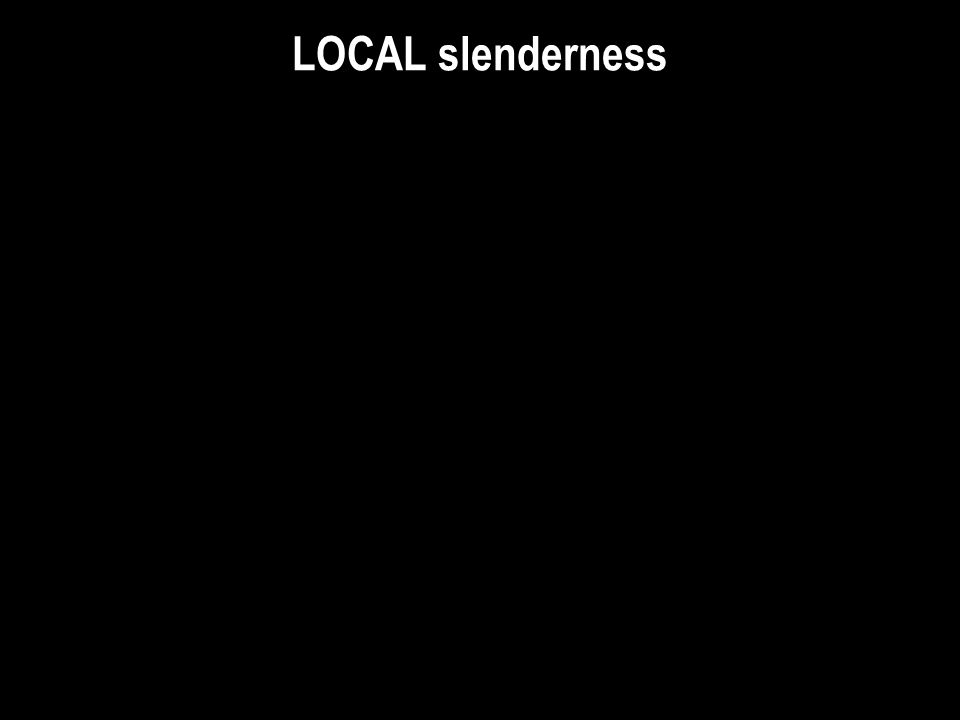 LOCAL slenderness c. W14FI: W14x233 with variable Flange thickness, varies Independently from all other dimensions.