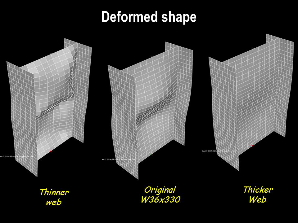 Deformed shape Thicker Web Thinner web Original W36x330