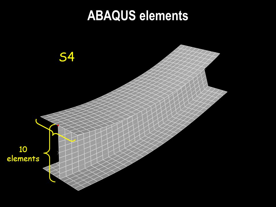 ABAQUS elements S4 10 elements