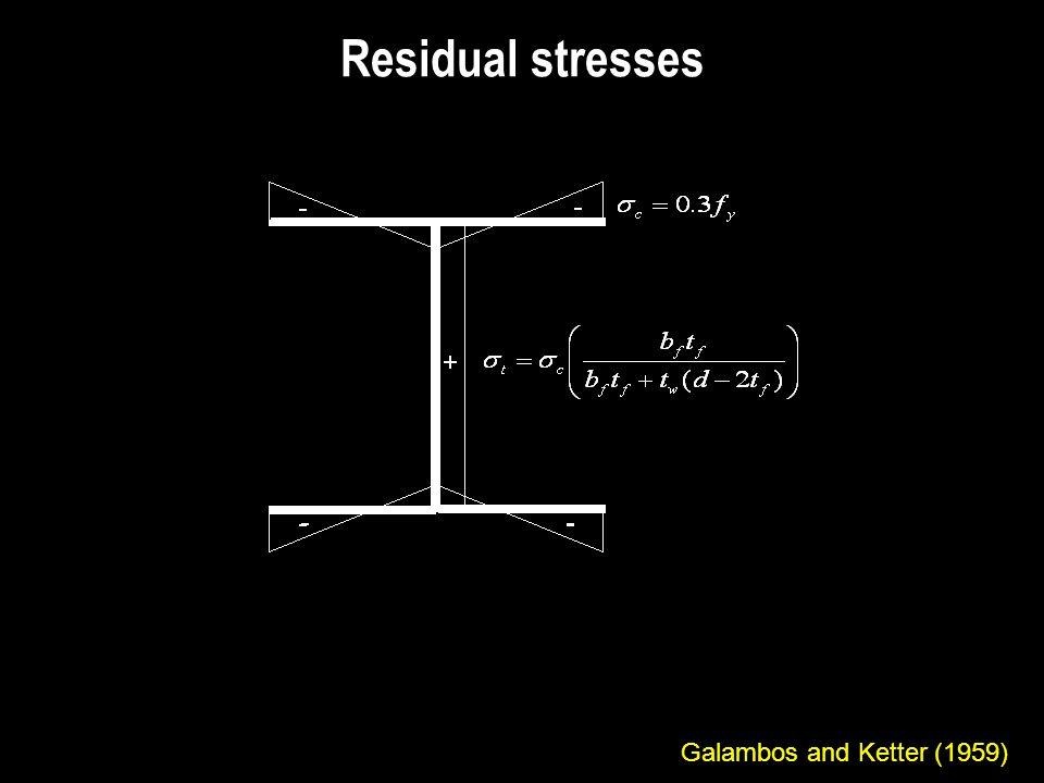 Residual stresses Galambos and Ketter (1959)
