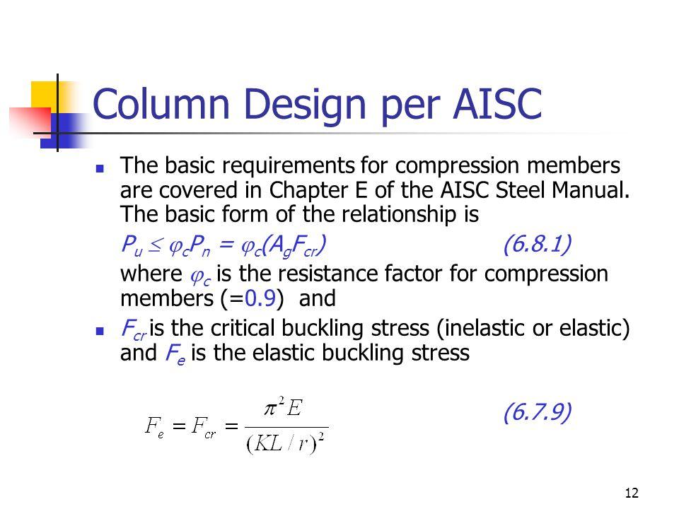 Column Design per AISC