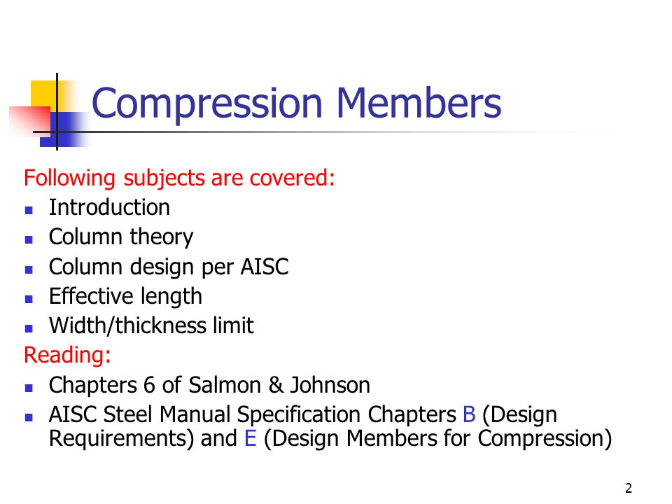 Compression Members Following subjects are covered: Introduction