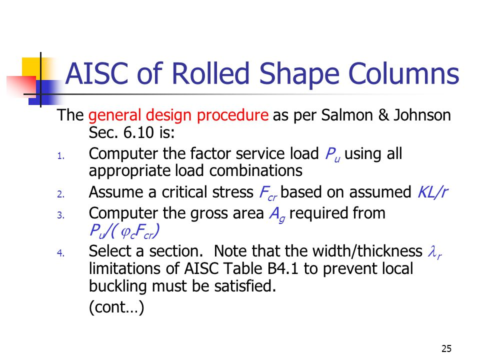 AISC of Rolled Shape Columns