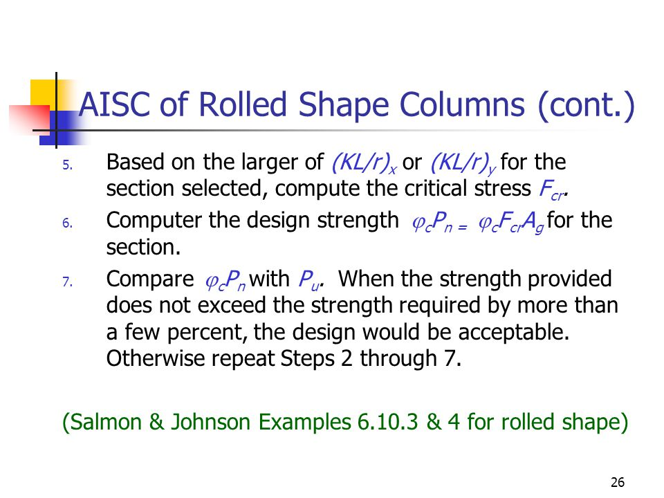 AISC of Rolled Shape Columns (cont.)