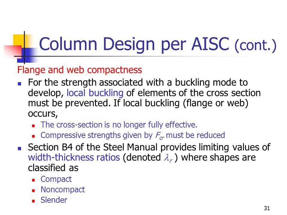 Column Design per AISC (cont.)