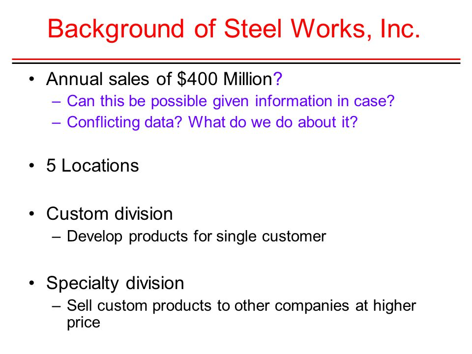 Background of Steel Works, Inc.