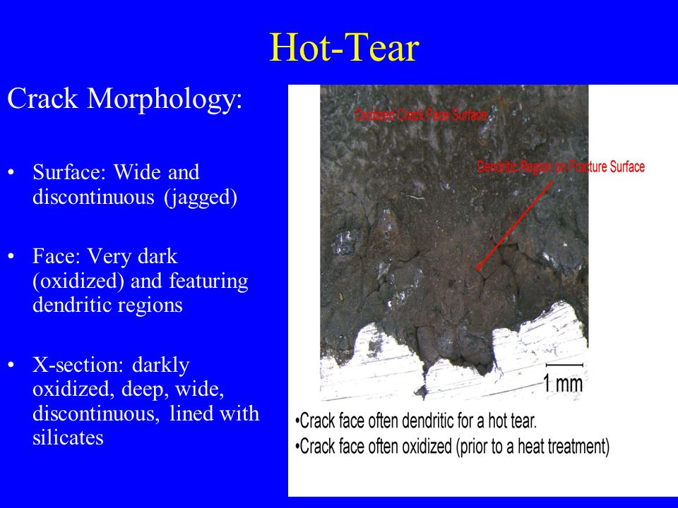 Hot-Tear Crack Morphology: Surface: Wide and discontinuous (jagged)