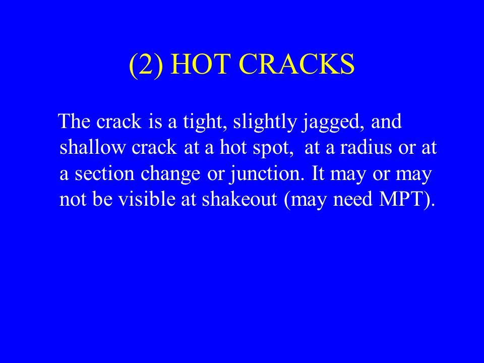 (2) HOT CRACKS