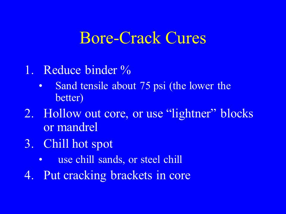 Bore-Crack Cures Reduce binder %