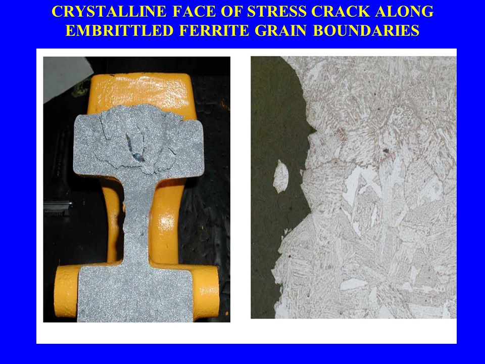 CRYSTALLINE FACE OF STRESS CRACK ALONG EMBRITTLED FERRITE GRAIN BOUNDARIES