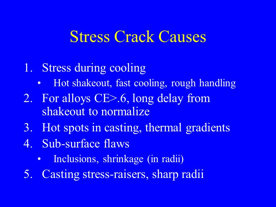 Stress Crack Causes Stress during cooling