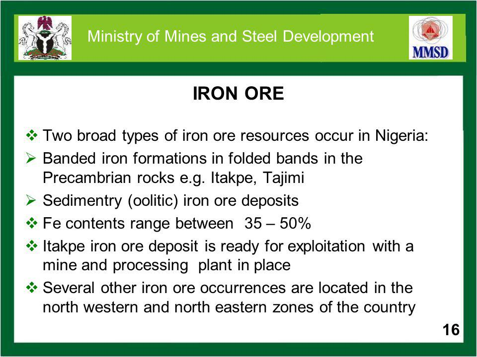 Iron Ore Projects 17 Deposit Location Reserves (Mil. t) Itakpe