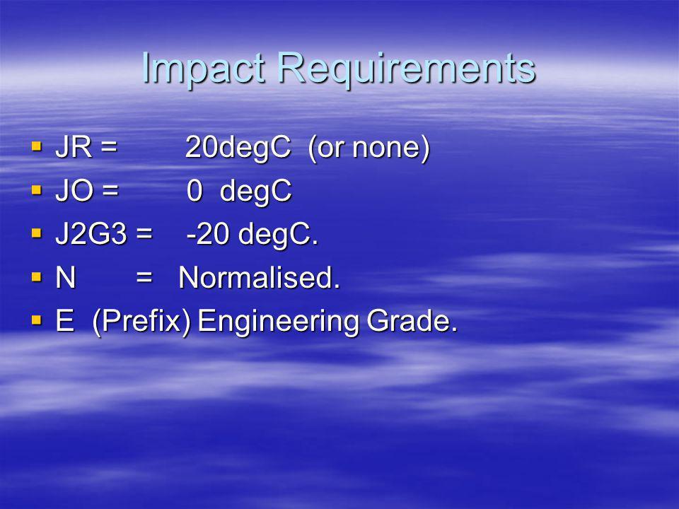 Impact Requirements JR = 20degC (or none) JO = 0 degC J2G3 = -20 degC.