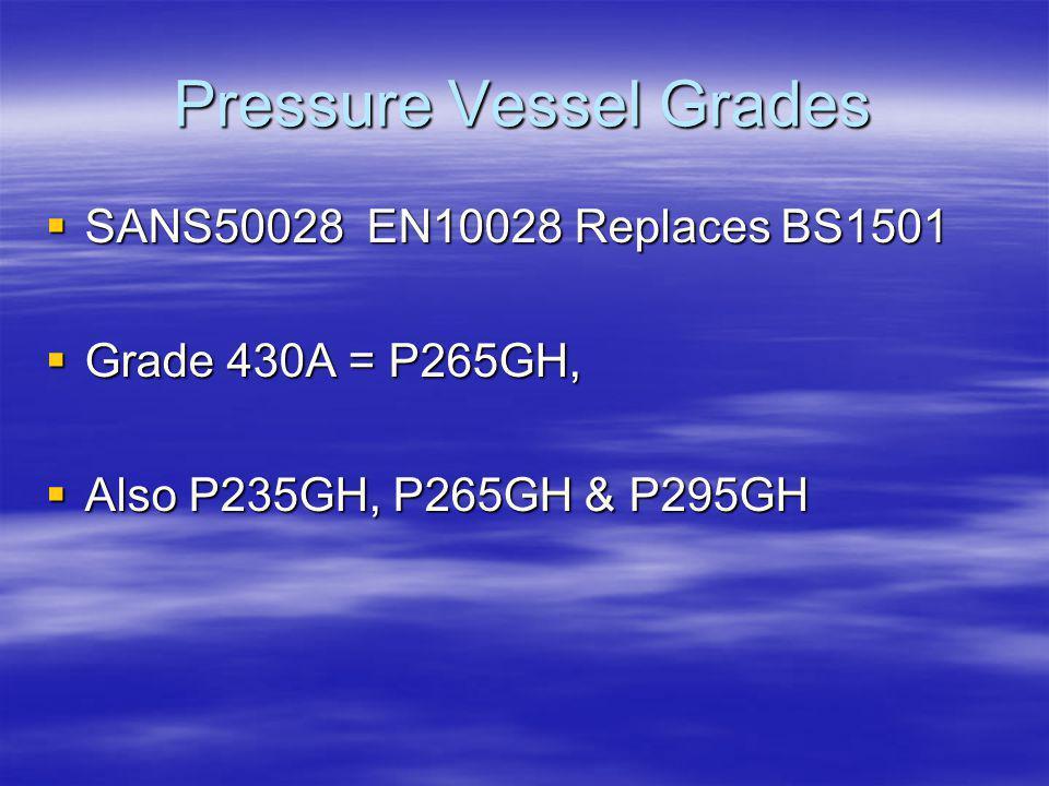 Pressure Vessel Grades