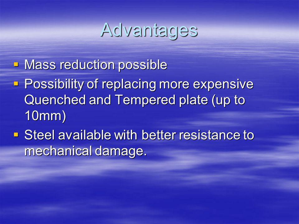 Advantages Mass reduction possible