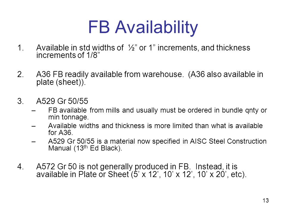 FB Availability Available in std widths of ½ or 1 increments, and thickness increments of 1/8