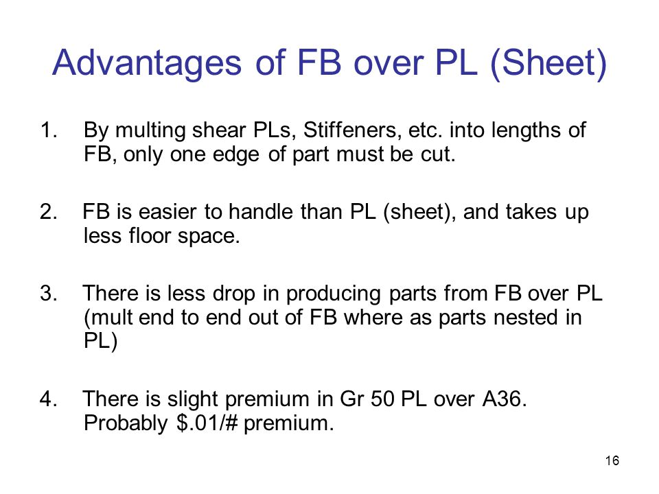 Advantages of FB over PL (Sheet)